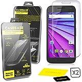 CaseBase® Premium ** Motorola Moto G (3rd Gen) ** Pellicola Protettiva per Display in Vetro Temperato - Confezione doppia per Motorola Moto G3 ** ** 2 in 1 ** **
