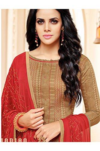 Salwar Facioun Beige Cotton Kameez Anarkali Indian Chanderi Beige Da Patywear In Traditional Ethnic Designer 8wgqAdax6