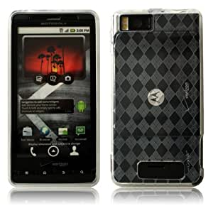 Cbus Wireless Clear Argyle Diamond TPU Flex-Gel Case / Skin / Cover for Motorola Droid X / MB810 / Droid X2 / MB870