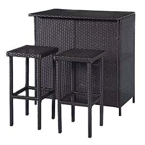 Mix Brown Patio 3Pcs Rattan Shelf Bar Table Set w/ 2 Bar Stools