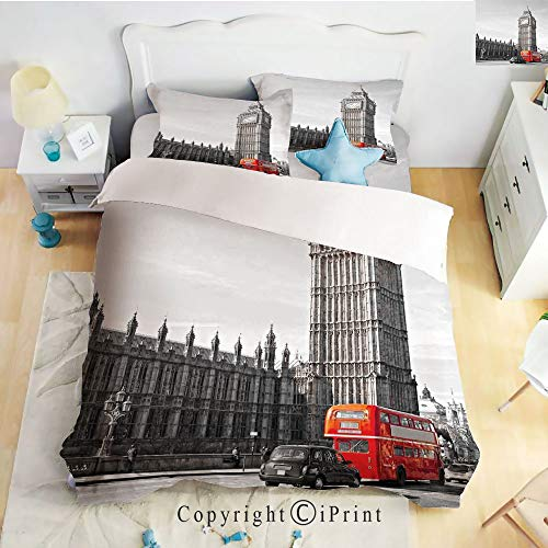 Home Luxury 4-Piece Bed Sheet,Big Ben Tower Begining of Westminster Bridge with Black Cab and Red Bus Image,Grey Black Red,Queen Size,Softest Bed Sheets and Pillow Cases ()