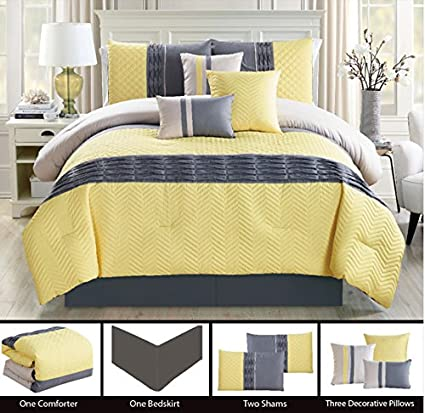 bf36fe50296 Image Unavailable. Image not available for. Color  Modern 7 Piece KING Bedding  Yellow   Grey ZigZag Chevron Quilted Comforter Set with accent pillows