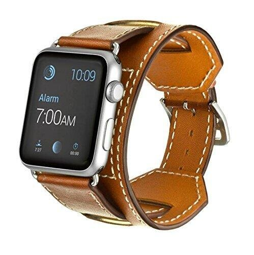 (FOTOWELT for Apple Watch Band, Cuff Leather Watchband Strap Bracelet Replacement Wrist Band With Adapter Clasp for Apple Watch iWahtch 38mm--Brown)