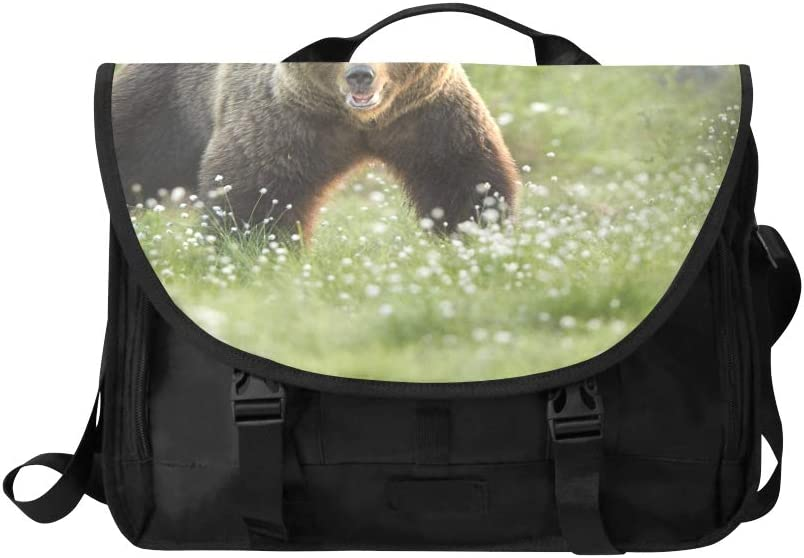 Girls Crossbody Bag Brown Bear Standing in The Wood Multi-Functional Mens Laptop Carrying Case Fit for 15 Inch Computer Notebook MacBook