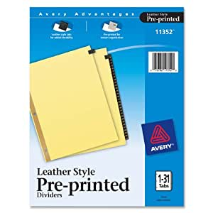Avery Gold Reinforced Leather Tab Dividers, 31-Tab, 1-31, Letter Size, Black, 31 per Set (11352)
