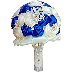 Wedding Bouquets for Bride, Amoleya 7.8 Inch Handmade Bridal Bouquet Bridesmaid Bouquet of Satin Flower Roses with Bling Rhinestones (Royal Blue+Ivory)