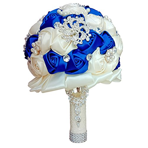 (Wedding Bouquets for Bride, Amoleya 7.8 Inch Handmade Bridal Bouquet Bridesmaid Bouquet of Satin Flower Roses with Bling Rhinestones (Royal)