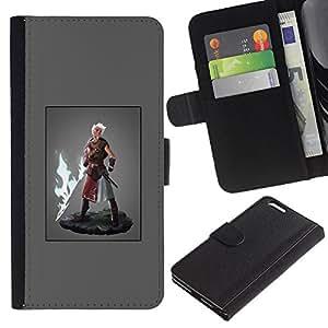 Be-Star la tarjeta de Crédito Slots PU Funda de cuero Monedero caso cubierta de piel Para Apple (5.5 inches!!!) iPhone 6+ Plus / 6S+ Plus ( Hero Man Super Power Fire Sword Blonde )