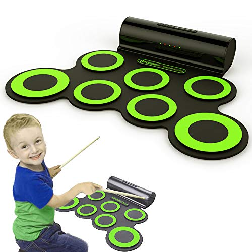 Alaca Electronic Drum Set Roll Up Drum Practice Pad Midi Drum Kit with Headphone Jack Built-in Speaker Drum Pedals Drum Sticks For Kids or Beginner