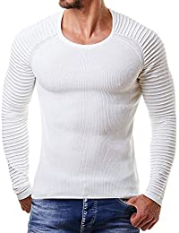 Men's Slim Fit Cable Knit Long Sleeve Crew-Neck Pullover Sweater