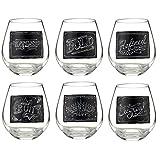 Grasslands Road Chalkboard Stemless Wine Glasses Set Of 6