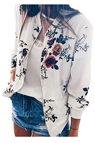 Bomber Es Jumojufol Stand Full Print Collar White Chaqueta Zip Floral Mujer Elegante La Up BqwHE7