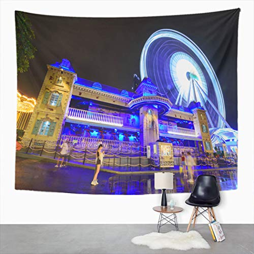 Bangkok Halloween 2019 (Peyqigo Wall Hanging Tapestry Bangkok Thailand 3 July 2019 Haunted A House Amusement Park Architecture Art Polyester Living Room Dorm Decoration Picnic Mat Beach Towel Home Decor 60 X 80)