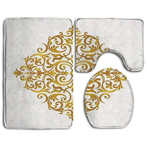 - NEWcoco Victorian Style Traditional Filigree Inspired Royal Oriental Classic Print Decorative Bathroom Rug Mats Set 3 Piece,Funny Bathroom Rugs Graphic Bathroom Sets,Anti-Skid Toilet Mat Set