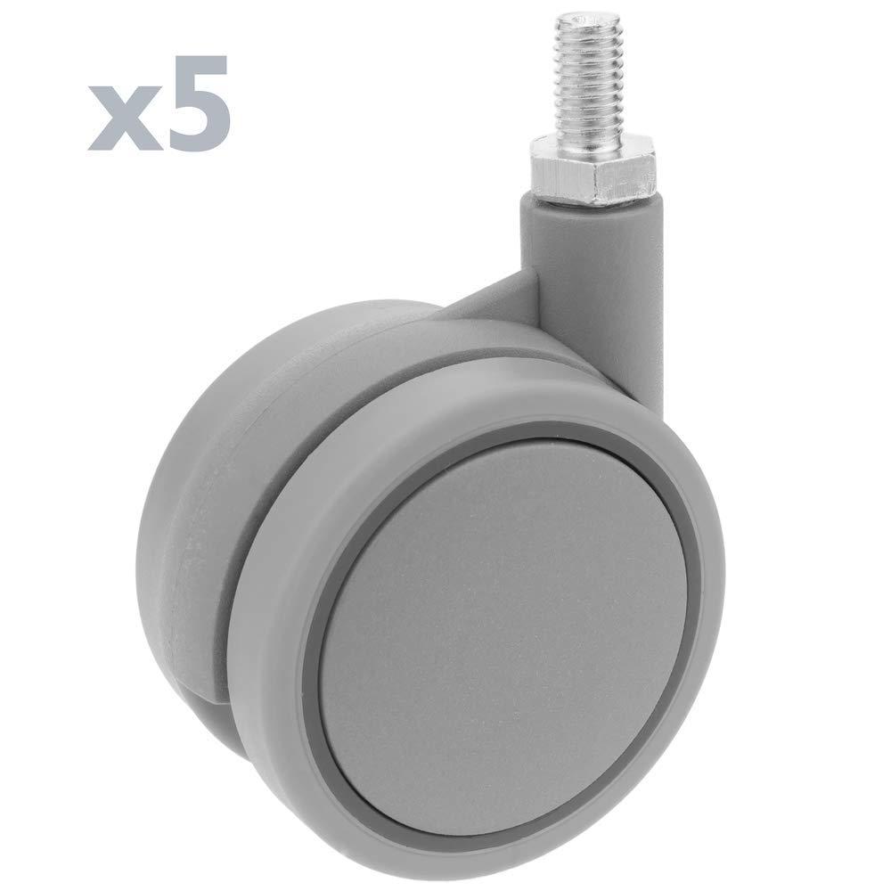 PrimeMatik Rueda pivotante de Nailon y Polipropileno sin Freno 60 mm M8 5 Pack