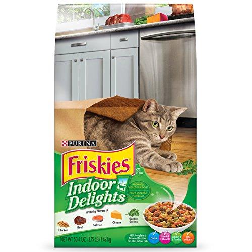 Purina Friskies Indoor Delights Chicken, Beef, Salmon, Cheese, Garden Greens Flavors Adult Dry Cat Food - Four (4) 3.15 lb. Bags