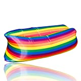 Jimcoser Rainbow Inflatable Air Lounger Sofa with Travel Bag, Perfect for Indoor and Outdoor Durable