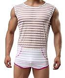 Fensajomon Men Sexy Stripe Stretchy See Through Sleeveless T-Shirt Tank Top Vest White S
