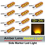 10 pcs TMH 3.6'' submersible 4 LED Amber Lens Light Side Led Marker 10-30v DC , Truck Trailer marker lights, Marker light amber, Rear side marker light, Boat Cab RV