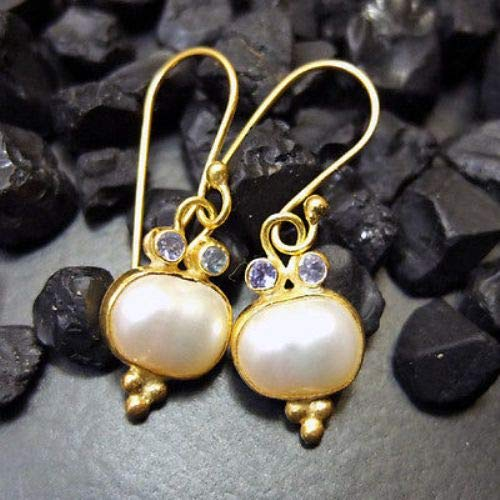 Ancient Design Handmade Hammered Pearl And Tanzanite Earring 22K Gold Over 925K Sterling Silver ()