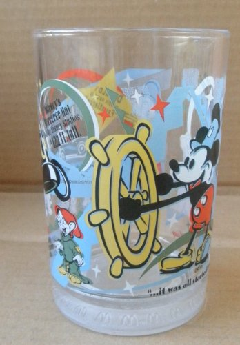 Collectible McDonald's Disney World 100 Years of Magic Glass Cup - 5 inches x 3 1/4 inches - Old Mickey Mouse