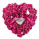 Somnr®  1PCS Wedding Favors Ring Pillow With Transprent Ring Box Heart Design Very Special Unique Ring Pillow Decorations Favor Fuchsia