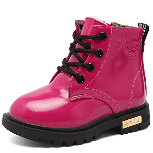 CIOR Girls Fashion Winter Warm Ankle Boots Zipper Cute Casual Shoes with Fur(Toddler/Little Kid) JRTX01-1.Rose24