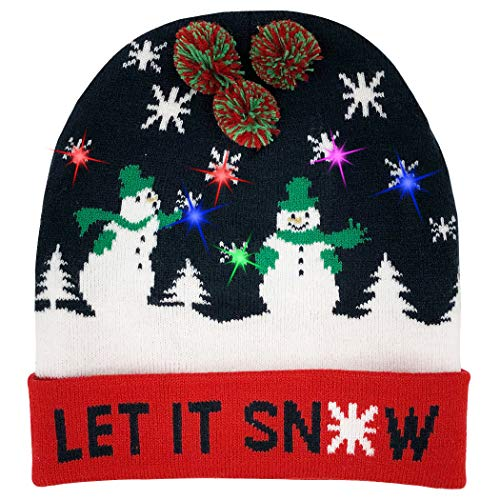 46e7ae2a90edc W-plus Ugly LED Christmas Hat Novelty Colorful Light-up Stylish Knitted  Sweater Xmas