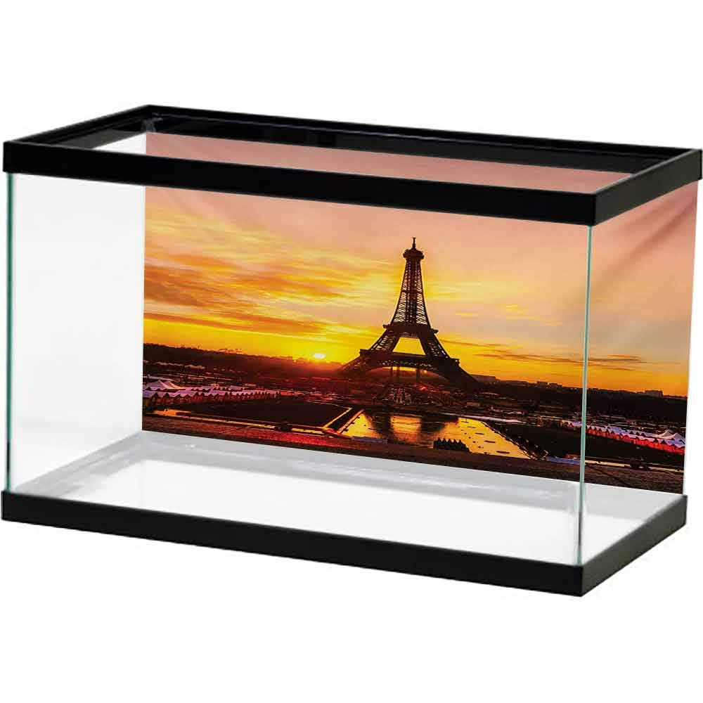 bybyhome 3D Aquarium Background Eiffel Tower,View of Eiffel Tower at Sunrise Paris Historical Monument Panoramic,Marigold Rose Brown PVC Adhesive Decor by bybyhome