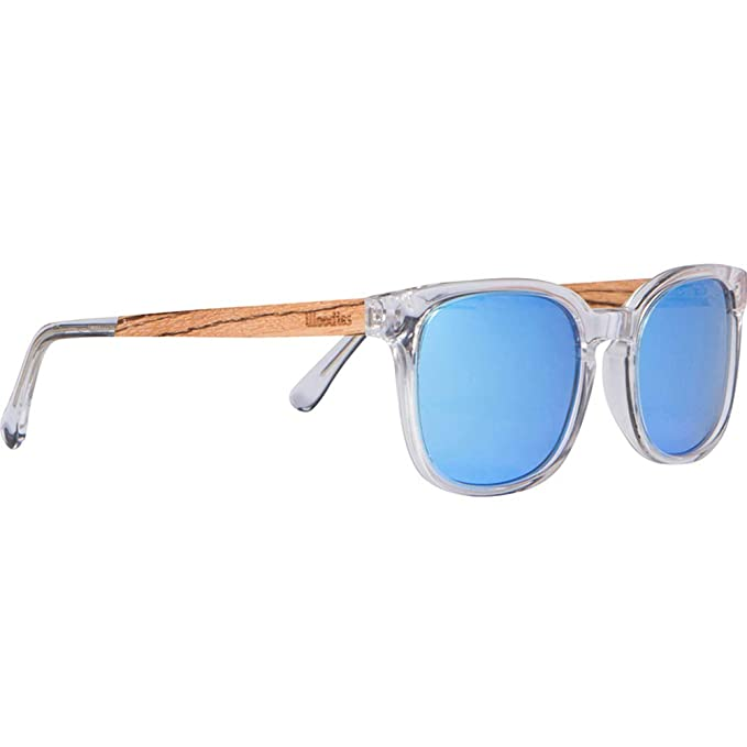2e15f8aa920 WOODIES Clear Acetate Sunglasses with Polarized Blue Lens in Wood Display  Box (Blue)