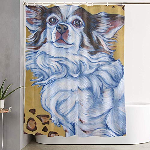 (White Long Hair Chihuahua Art Painting Bathroom Shower Curtain Decorative Toilet Celebrate Ornament Picks Set Prints Themed All Supplies Accessories Sale Indoor Home Room Restroom Ornament)