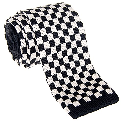"""Retreez Vintage Smart Casual Classic Check Men's 2.4"""" Skinny Knit Tie - Black and White"""