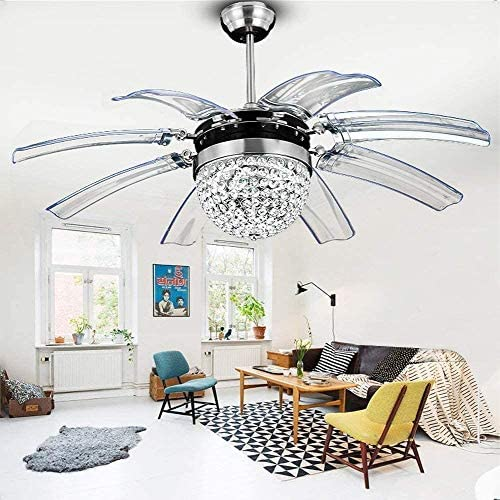 Sweety House Crystal Ceiling Fan Remote Control Modern Invisible 8 Leaf Fan Light Decoration Living Room Dining Room Chandelier 42 Inch 8 Leaf Style