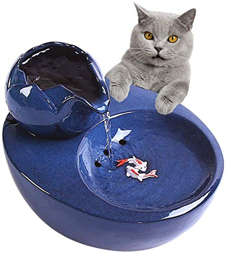 JYIP Cat Ceramic Water Fountain Automatic Pet Drinking Fountain Electric Dog Water Dispenser Ultra Quiet Water Bowl for Cats and Dogs - Blue