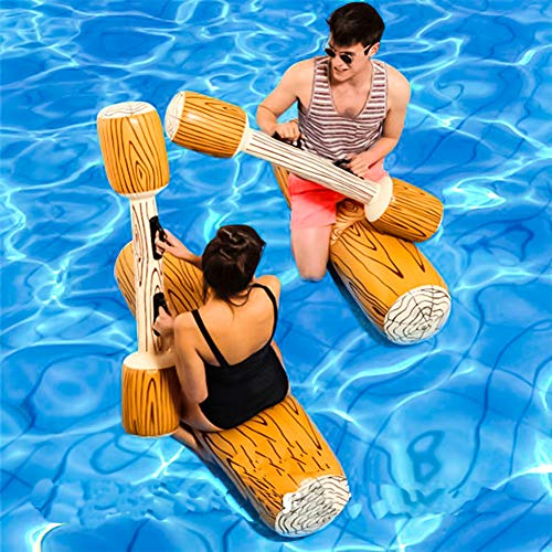 Comeb 2 Pcs Package Inflatable Floating Water Toys Aerated Battle Logs,Floating Bed Pool Lounger Giant Floats Ride Boat Raft for Pool Party Beach Swimming Pool ()