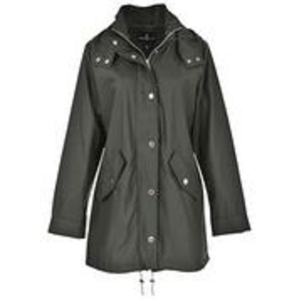 London Fog Ladies 'Loose Fit' Rain Slicker - Olive Green, L