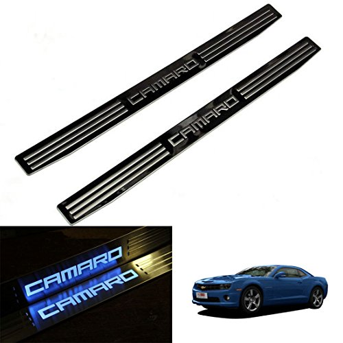 Highitem Pair LED Light Illuminated Door Sill Scuff Plate Cover for GM Chevy Chevrolet Camaro 2010-2016 (Blue Color LED)