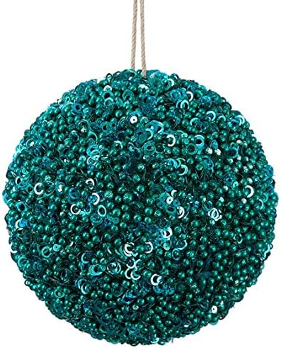 Amazon Com 4 Inch Sequined Beaded Ball Ornament In Aqua Blue Or Dark Blue Christmas By Autograph Teal Green Blue Aqua Jewelry