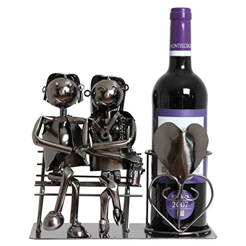 BRUBAKER Wine Bottle Holder Statue Love Couple On The Bench Sculptures and Figurines Decor & Vintage Wine Racks and Stands Gifts Decoration (Bottle Wine Metal Holders)