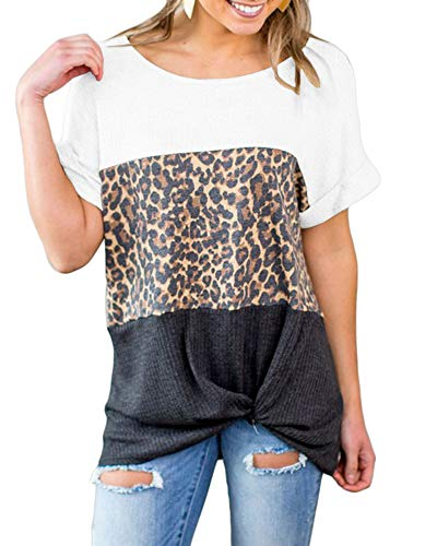 Jeanewpole1 Womens Leopard Color Block T Shirts Short Sleeve Twist Knot Knitted Tunic Tops White