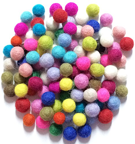 Yarn Place Felt Wool Felted 100 Balls 1 Color Pack Size: 10 mm (Mixed Color) ()