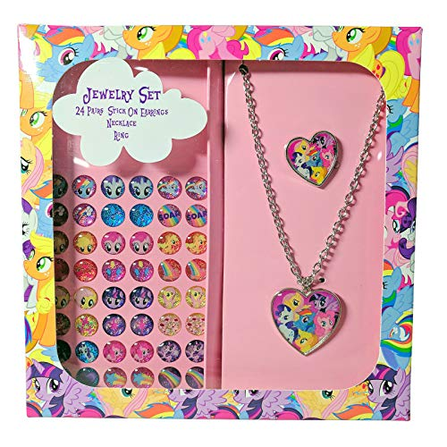 Karacter Corner My Little Pony Jewelry Set in Printed Box, 24 Pairs Stick On Earrings, Necklace, -