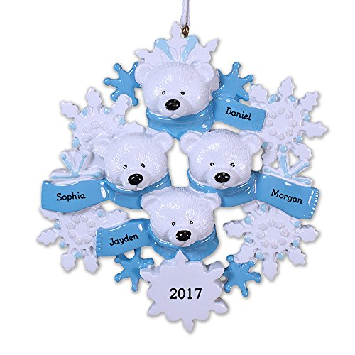 GiftsForYouNow Polar Bear Family of 4 Personalized Ornament