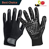 #8: Pet Grooming Glove + Bonus Pet Training Clicker - ❤️Dog Brush Glove - Cat Hair Removal Mitts Work as Deeply-Shedding, Easily-Combing, Softly-Massaging for Horses, Dogs, Cats (One Pair)