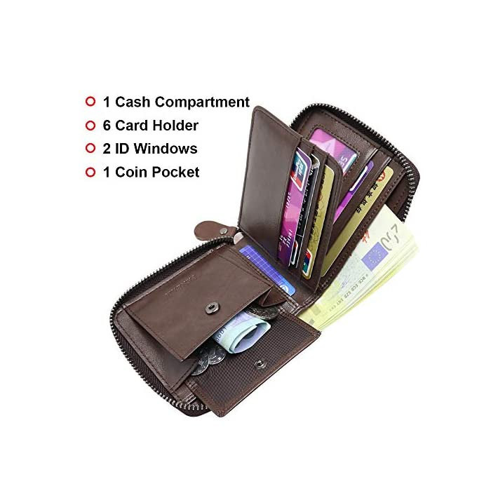 51bGF2S8lhL 1.Bloqueo RFID Tecnología: esta RFID cartera hombre pequeña está equipada con tecnología de RFID, que puede proteger su información personal; Faneam cartera de cuero para hombre está hecha de cuero original, el material es muy suave y tiene un diseño clásico. 2.Estructura Excelente: esta RFID billetera hombre pequeña viene con 1 bolsillo principal para efectivo, 8 ranuras para tarjetas(incluyendo 2 ventana de ID), Además, la cartera contiene un monedero con boton de acero inoxidable. El Faneam cartera hombre piel los hombres debe ser perfecto para sus necesidades diarias, especialmente cuando viaja. 3.Regalos Ideales para Hombres: las monedero hombre pequeño vienen con una exquisita caja de regalo; Le proporcionaría mucha comodidad, no las encontrará en muchas carteras. Regalo ideal para cualquier caballero como regalos en cumpleaños, San Valentín, Aniversarios, día del padre, día de acción de gracias, Navidad.