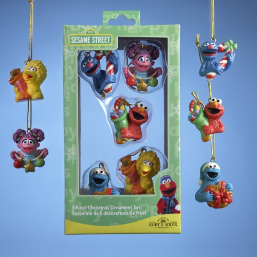 Set of mini Sesame Street Christmas Ornaments
