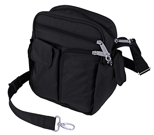 BeSafeBags by DayMakers Anti-Theft RFID Travel Security Guide Bag Cross Body, Large (detachable strap), Black Ballistic Polyester