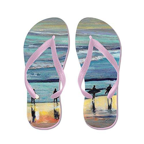 Cafepress Surfer Painting Por Rd Riccoboni - Chanclas, Sandalias Thong Divertidas, Sandalias De Playa Rosa