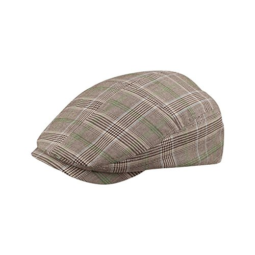 MG Men's Plaid Ivy Newsboy Cap Hat (Brown, Medium)