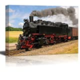 Canvas Prints Wall Art - Steam Train with Black Smoke Running on Island Rugen, Northern Germany | Modern Wall Decor/ Home Decoration Stretched Gallery Canvas Wrap Giclee Print & Ready to Hang - 16'' x 24''